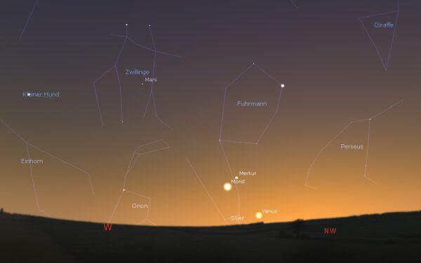 Blick nach Westnordwesten am Bonner Abendhimmel am 13. Mai 2021